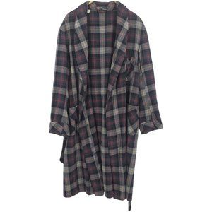 Vintage Gray Black Wool Blend Plaid Flannel Robe